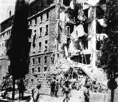Shortly after noon on july 22, 1946, one wing of the huge Palestine Government secretariat and the Headquarters of the Palestine Army command in the King David hotel, Palestine, was destroyed. Bombs had been planted in the by a gang of Jewish terrorists in the basement. Our Associated Press photo shows the wrecked wing ot the King David hotel where the government chief secretary's office was located, immediately after the explosion.