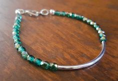 Delicate Green and Silver Bracelet