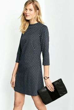 Buy Navy/Charcoal Chevron Jacquard Dress from the Next UK online shop Party Dresses For Women, Dresses For Work, Capsule Wardrobe Work, Jacquard Dress, Chevron, Evening Dresses, Your Style, Cold Shoulder Dress, Sweaters