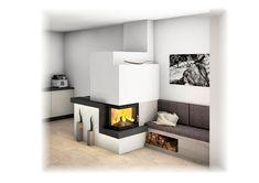 Kachelofen Modern mit Ecksichtfenster und Ofenbank Air Fire, Stove Oven, Living Spaces, Living Room, Outdoor Living, Indoor, House, Design, Fire Places