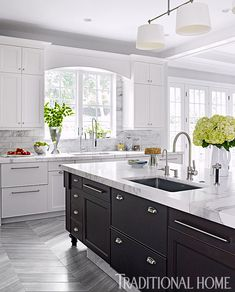 To improve the interior of your home, you may want to consider doing a kitchen remodeling project. This is the room in your home where the family tends to spend the most time together. If you have not upgraded your kitchen since you purchased the home,. New Kitchen, Kitchen Dining, Kitchen Decor, Kitchen Cabinets, Marbel Kitchen, Kitchen Island With Sink And Dishwasher, Grey Cabinets, Kitchen Sinks, Vintage Kitchen