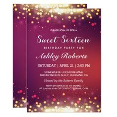 Make all your friends envious with this Pink and Gold Sparkles Sweet 16 Invitation