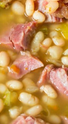"""Ham and Bean Soup is one of our all time favorite foods to come home to on a chilly day. This """"no-soaking required"""" Ham and Bean soup takes just minutes to prepare and cooks effortlessly in your Crock Pot all day long! Dinner is ready when you are! Recipe For Ham And Bean Soup, Bean Soup Recipes, Crockpot Recipes, Cooking Recipes, Crockpot Ham And Beans, Navy Bean Recipes, Lima Bean Recipes, Homemade Beans, Homemade Soup"""