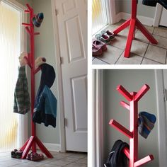 A how-to for building an inexpensive coat tree, based on plans from… Kids Coat Rack, Tree Coat Rack, Coat Tree, Diy Furniture Projects, Furniture Plans, Diy Projects, Ana White, Free Standing Coat Rack, Small Woodworking Projects