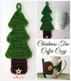 So darling #Crochet Christmas Tree Coffee Cozy - free pattern from @moogly @mooglyblog