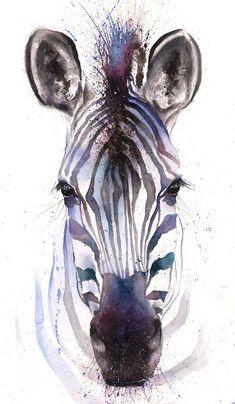 WATERCOLOR ZEBRA PRINT - zebra art print, zebra painting, zebra wall art, zebra… #artpainting