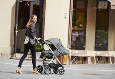 For your life on the go, there's the Stokke Scoot stroller –two-way facing seat w/ multiple recline options & a softbag accessory too for a newborn baby