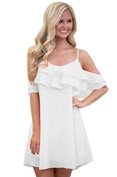 White Ruffle Double Layered Short Dress 56243f360417