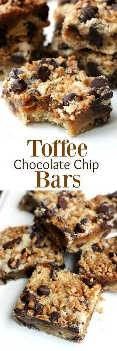 Gooey and delicious Toffee Chocolate Chip bars with a chewy crust and caramel like filling. | tastesbetterfromscratch.com