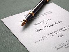 Elegant letterpress wedding invitation - simple black and white