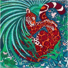 Carré 90 x 90 cm Hermès | Jaguar Quetzal