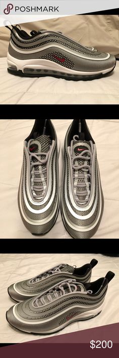 Air Max 97 'Silver Bullet' '17 (BNWOB) Combining both - the agressive shape of the OG AM 97 release and a modern seamless Jaquard knitted upper- this release adds a special flavour to the iconic 'Silver Bullet' Air Max silhouette. Its futuristic upper sits on top of the classic Air sole, featuring a full length continuos air bubble for premium cushioning. The design of the iconic Air Max model from 1997 was inspired by the Japanese Highspeed Bullet trains. Nike Shoes Athletic Shoes