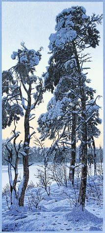 Siemen Dijkstra. Three Trees - Schurenberg, 2010. Reduction woodcut on Japon paper. Edition of 40. 24 1/8 x 10 7/8 inches.