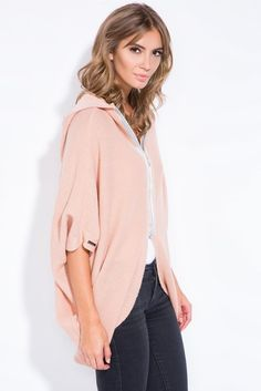 Apricot Oversize Cape With A Silver Zip