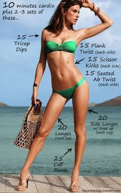 Beach body workout, diet, and exercises.