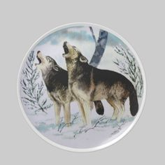Two Wolves Collector Plate http://www.zazzle.com/two_wolves_collector_plate-115196207193474867