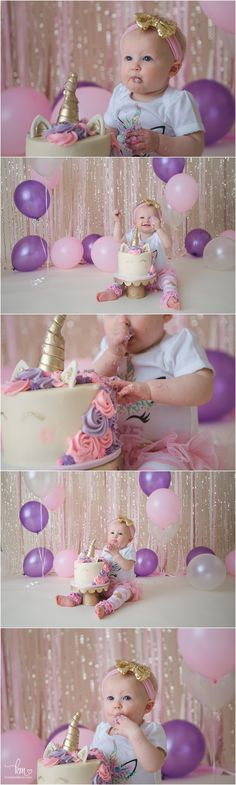gold, pink and purple cake smash with unicorn - so cute!!