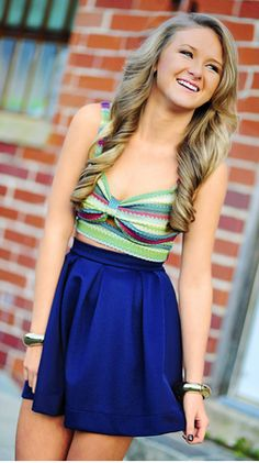 """outfit! : """"under the sea"""" green striped crop top and blue skirt ❤"""