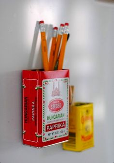 Cool idea for old tins- to hang on fridge