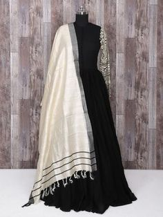 Shop Black color silk dressy anarkali suit online from India. Indian Wedding Outfits, Pakistani Outfits, Indian Outfits, Bridal Outfits, Kurti Designs Party Wear, Salwar Designs, Anarkali Dress, Lehenga, Black Anarkali