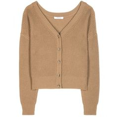 Dorothee Schumacher New Uncertainty Knitted Cashmere Cardigan (43.085 RUB) ❤ liked on Polyvore featuring tops, cardigans, beige, beige top and beige cardigan