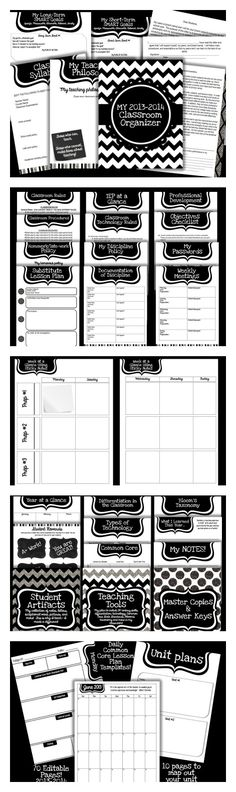 Planner for UPPER Grades: Black & White Sophistication - Editable So excited to share this with everyone! This is an EDITABLE classroom organizer specifically for middle and high school teachers! It is a black and white theme for easy printing!So excited High School Classroom, Classroom Fun, Future Classroom, School Teacher, Classroom Libraries, English Classroom, Science Classroom, Classroom Organisation, Teacher Organization