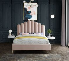 Art Deco Bedroom, Room Ideas Bedroom, Bedroom Decor, Bed Headboard Design, Bed Design, Cama Art Deco, Camas King Size, Velvet Upholstered Bed, Upholstered Platform Bed