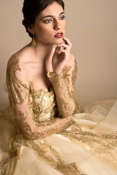 Ethereal Gold Wedding Dress | Elizabeth Nord Photography