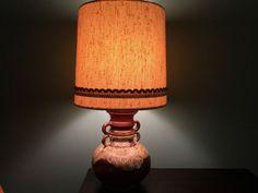 West Germany  Keramik Art Pottery Lamp Brown & Cream Fat Lava
