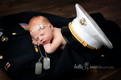 Newborn girl with daddy's dress blues, hat, and dog tags  |  Bella Rose Portraits newborn photographer photography military pose ideas