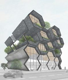Risultati immagini per hexagon project architecture Architecture Concept Drawings, Concept Architecture, Futuristic Architecture, Facade Architecture, Amazing Architecture, Biomimicry Architecture, Environmental Architecture, University Architecture, Architecture Diagrams
