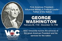 Remembering America's First President George Washington and his services to the nation! Political Leaders, Politics, Online Degree Programs, American Presidents, George Washington, University, College, Student, Learning