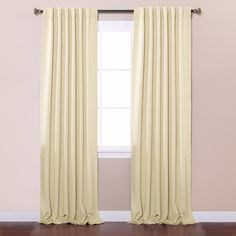 """Best Home Fashion Thermal Insulated Blackout Curtains - Back Tab/ Rod Pocket - Beige - 52""""W x 96""""L - (Set of 2 Panels)"""