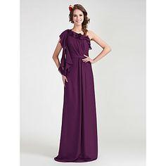 Sheath/ Column One Shoulder Floor-length Chiffon Bridesmaid Dress – USD $ 129.99 Wasn't looking at full length but Love this Dress.