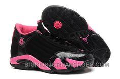 reputable site 41968 93e43 Girls Air Jordan 14 Retro GS Black Desert Pink On Sale Womens Size 2016  Discount