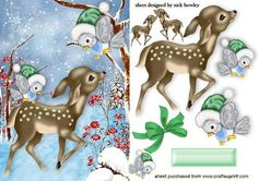 CUTE LITTLE DEER IN THE SNOW WITH LITTLE BIRDS on Craftsuprint designed by Nick Bowley - CUTE LITTLE DEER IN THE SNOW WITH LITTLE BIRDS, Makes a cute christmas card, just add some sparkle - Now available for download!