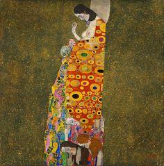 """""""La speranza"""", Gustave Klimt, 1907-08; olio su tela, 110x110 cm; l'opera è esposta presso il Museum of modern art, New York City."""