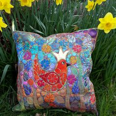 Botanical Cushion with a Regal Bird and Free Machine Embroidery £150.00 Free Machine Embroidery Designs, Cushion Pads, Beautiful Gifts, Silk Fabric, Gifts For Friends, Gift Guide, Cushions, Textiles, Throw Pillows