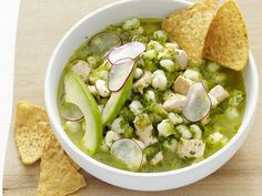 Get Posole Verde Recipe from Food Network Posole Verde, Pozole Verde Recipe, Posole Recipe Chicken, Chicken Pasole, Posole Soup, Pork Posole, Salsa Verde, Healthy Chicken Recipes, Mexican Food Recipes