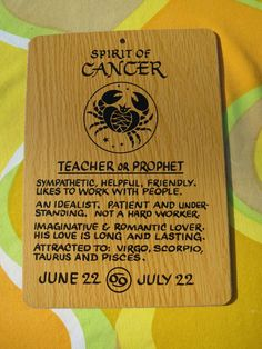 Vintage 1970s Retro Horoscope Zodiac Horoscope Sign Wooden NOS Wall Art CANCER