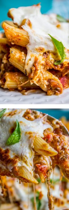 Extra Cheesy Penne and Mozzarella Casserole from The Food Charlatan. You can throw together this easy, cheesy, hearty hot dish in 45 minutes, tops. You don't have to cook the sauce, just stir some spices in and call it good. This is a great meatless Monday meal! My kids loved this! Huge crowd pleaser!