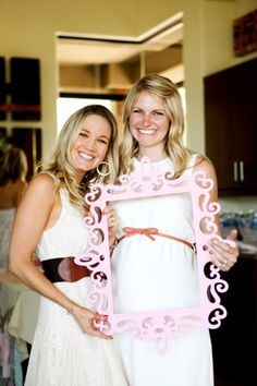 Baby Shower photo idea- Mommy with a friend or family member + frame with Harper in every picture...Perfect for the baby book and added decor for her nursery =)