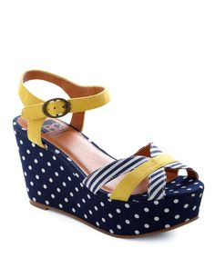 Adorable summer sandals!  Nautical stripes, polka dots, and a splash of yellow.