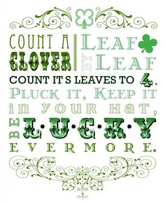 St. Patrick's Day Printable Art.  Love this!