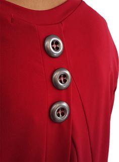 Camiseta combinada crep. Poliester y elastano, (Maxi botones)