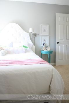 Loving a lot in this little girl's room!  paint color - martha nimbus cloud