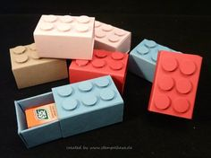 Lego Stones, Stampin Up, Stempelhexe - Craft: Boxes, Gift Packs & Treat Bags - Lego Craft, Craft Box, Lego Sets, Papier Kind, Lego Boxes, Ninjago Party, Treat Holder, Candy Gifts, Birthday Diy