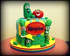 Veggie Tales Cake By xpangxiong on CakeCentral.com...Never saw a Veggie cake look this awesome!