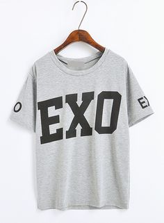 Kpop Style Loose Short-sleeved T-shirt Exo T Shirt, Sweater Shirt, Kpop Shirts, Tee Shirts, Kpop Outfits, Cute Outfits, Exo Merch, Loose Shorts, Back To School Outfits