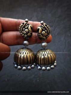 Handmade Terracotta Antique Gold And Silver Color Peacock Design Jhumka Earring By Nakshatra Funky Jewelry, Silver Jewelry, Jewelry Accessories, Handmade Jewelry, Jewelry Design, Terracotta Jewellery Online, Terracotta Jewellery Designs, Fashion Jewelry Stores, Fashion Jewellery